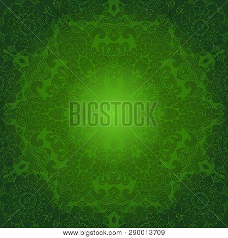Ramadan Kareem Greeting Design Illustration. Green Ornamental Background. Vector Eps 10