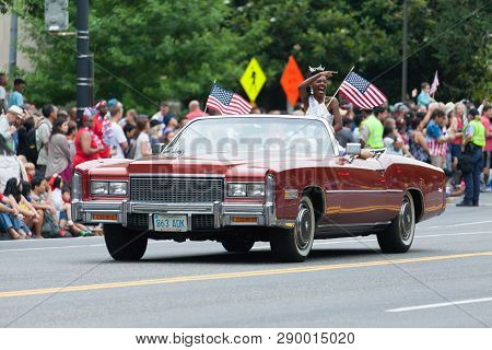 Washington, D.C., USA - July 4, 2016, The National Independence Day Parade is the  Fourth of July Parade in the capital of the United States, it  commemorates the adoption of the Declaration of Independence, only selected schools, and other groups partici