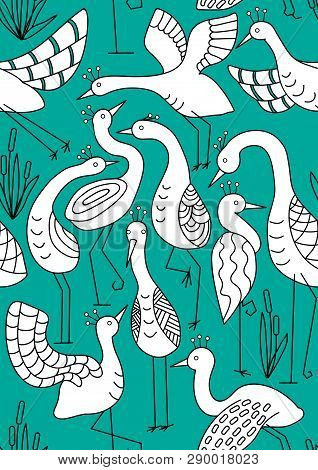 Doodle Style Herons. White Wader. Unique Patterns On Cartoon Birds