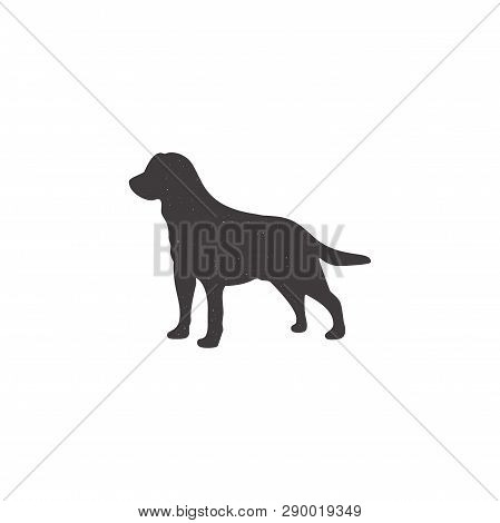 Labrador Icon In Silhouette Style. Dog Stand Monochrome Shape. Stpck Vector Illustration Isolated On