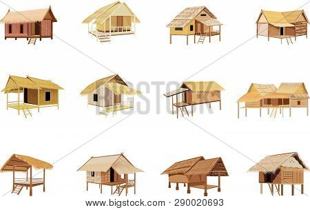Isolated Straw Hut On White Background Design