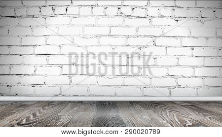 White Brick Wall And Wooden Floor Background. Realistic Texture Of Old Brickwork, Grunge Abstract Ha