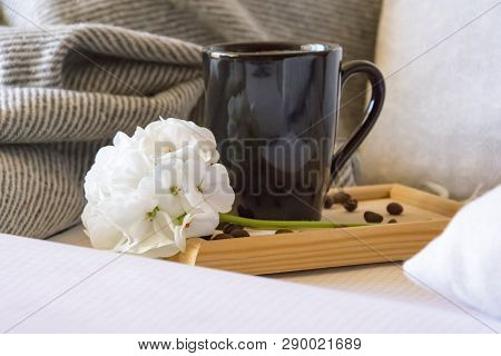 Warm Home Atmosphere, A Mug Of Freshly Brewed Coffee, Grains, A Notebook For Records, A Grey Blanket