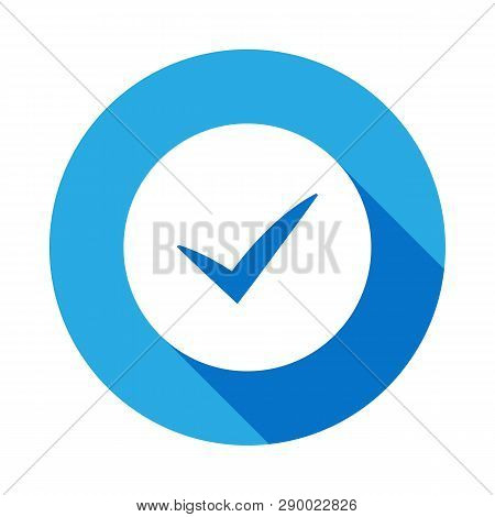 Sign Checked Icon With Long Shadow. Element Of Logistics Icon. Premium Quality Graphic Design Icon.