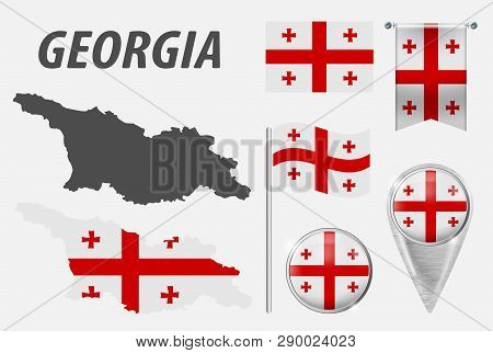 Georgia. Collection Of Symbols In Colors National Flag On Various Objects Isolated On White Backgrou