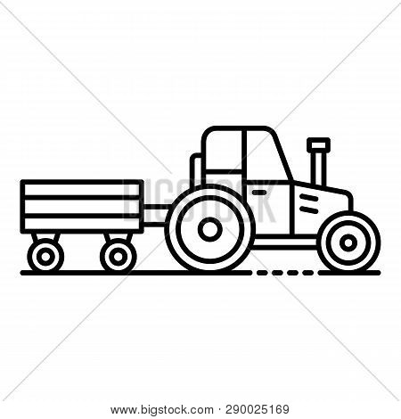Tractor With Trail Icon. Outline Tractor With Trail Vector Icon For Web Design Isolated On White Bac