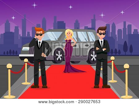 Bodyguards And Celebrity Cartoon Characters. Guardians Protect Elegant Lady Flat Vector Illustration