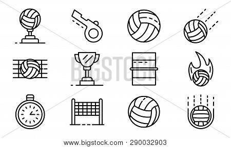 Volleyball Icons Set. Outline Set Of Volleyball Vector Icons For Web Design Isolated On White Backgr