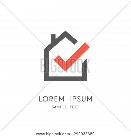 Real Estate Logo - Home Or House With Chimney And Check Mark Or Tick Symbol. Realty And Property Age