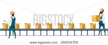 Warehouse Packing Conveyor Belt Under Control. Storage Worker In Overall Uniform Preparing Goods For