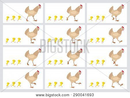 Walking Light Brown Hen And Chicks Sprite Sheet Isolated On White Background. Vector Illustration. C