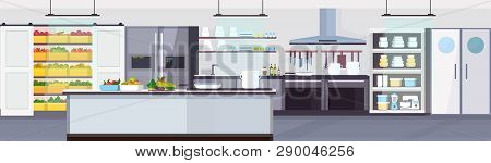 Modern Commercial Restaurant Kitchen Interior With Healthy Food Fruits And Vegetables Cooking And Cu
