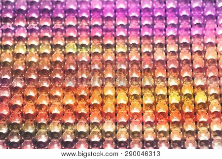 Rows Of Colouful Led Light Bulbs, Abstract Background With Brilliant Illuminated Light.