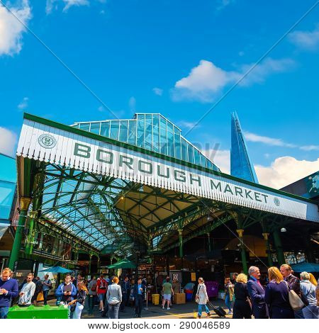 London, Uk - May 23 2018: Unidentified People At Borough Market In Southwark, One Of The Largest And