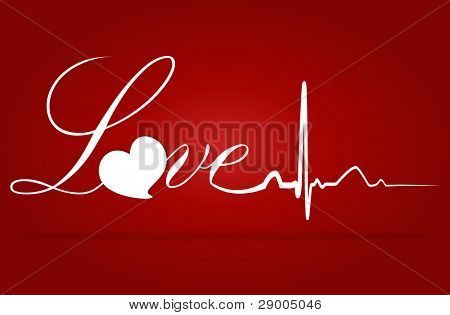 Love with EKG signal. Valentine's Day. Vector Illustration.
