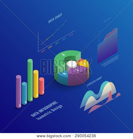 Isometric 3d Business Vector Infographic With Color Diagrams And Charts. Isometric Colored Infograph