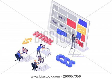 Isometric 3d Teamwork Building And Do Layout New Modern Site. Concept Man Programmer Characters With