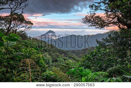 Volcan Arenal Dominates The Landscape During Sunset, As Seen From The Monteverde Area, Costa Rica.