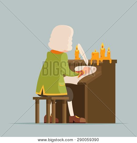 Back Chronicler Noble Writer Scribe Playwright Medieval Aristocrat Periwig Pen Music Stand Scroll Ca