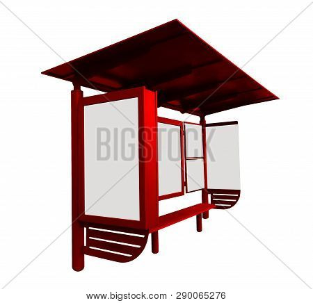 Red Bus Stop With Blank Banner Isolated On White Background. Clipping Path Included.