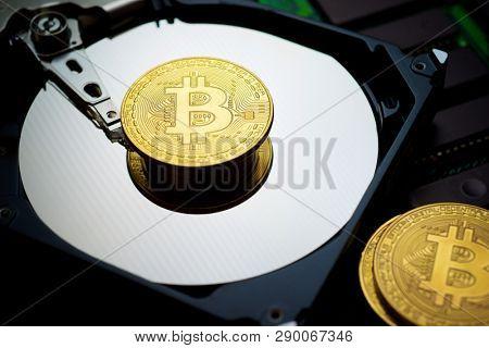 Bitcoins on a hard drive.