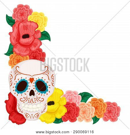 Floral Frame With Cute Skull And Rose And Hibiscus