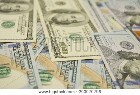Cash Flow Concept. 100 Dollar Photo. Dollars Closeup Concept. American Dollars Cash Money. One Hundr