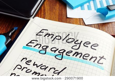 Employee Engagement Plan On A Book. Engage Workers.