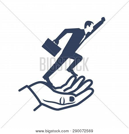 Silhouette Businessman Flying Out Of Hand Goes Up. Give Freedom, Opportunity. Business Concept. Succ