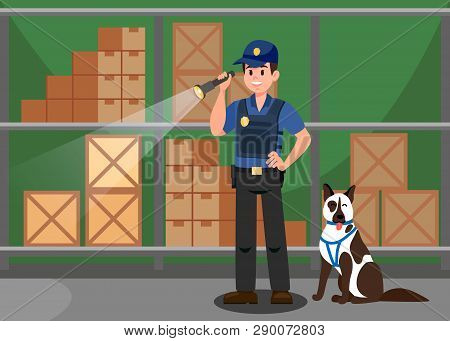 Agent And German Shepherd Flat Vector Illustration. Guardian Inspecting Warehouse With Service Dog.