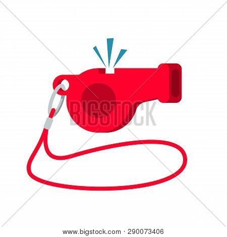 Whistle Icon. Sport Equipment. Referee Whistle. Cartoon Style. Vector Illustration Flat Design. Isol