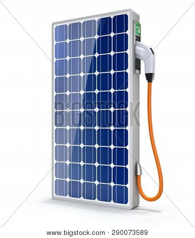 Solar Panel Car Charging Station With The Power Cable And Plug - 3d Illustration