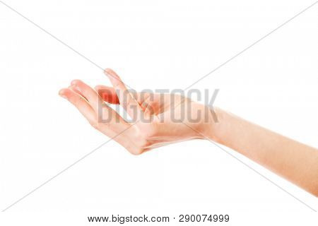 Woman's hand gesturing isolated on white background. Side view.