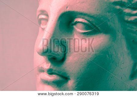 Close Up Face Gypsum Copy Antique Sculpture With Craquelure. Red Green Vaporwave Effect. Textured.
