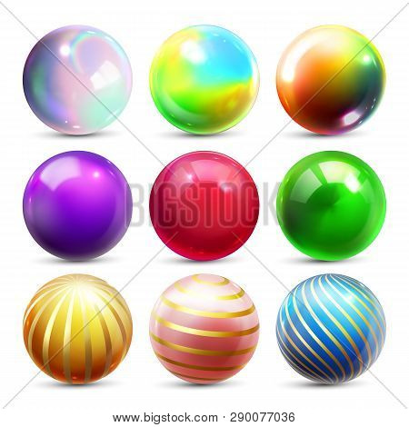 Shine Sphere Set Vector. Orb Shining Ball. Glowing Metal Or Plastic Abstract Circle. Glossy Shine Ic