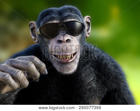 3d Rendering Of A Smiling Chimpanzee Wearing Sunglasses And Looking Cool.