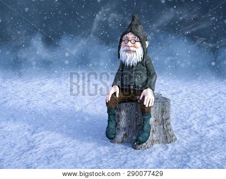3d Rendering Of A Fairy Tale Christmas Gnome Or Elf Sitting On A Tree Stump Surrounded By Magical Sn