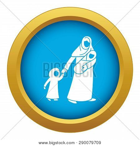 Refugee Mother Children Icon Blue Vector Isolated On White Background For Any Design
