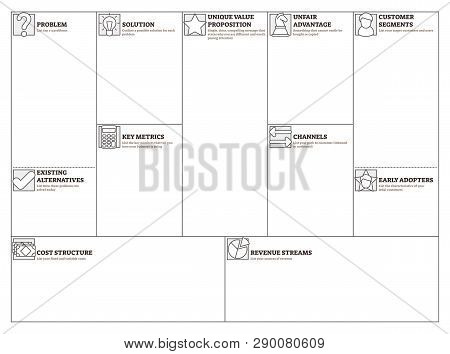 Lean Canvas Vector Illustration. Business Plan Presentation Blank Template Table. Alternative And Ef