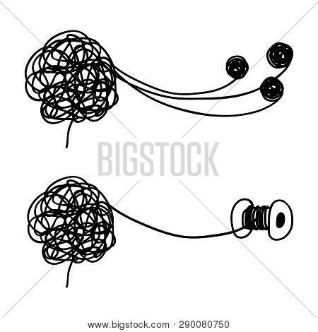 Tangled And Untangled Brain Metaphor. Psychotherapy Results Vector Concept. Illustration Of Untangle