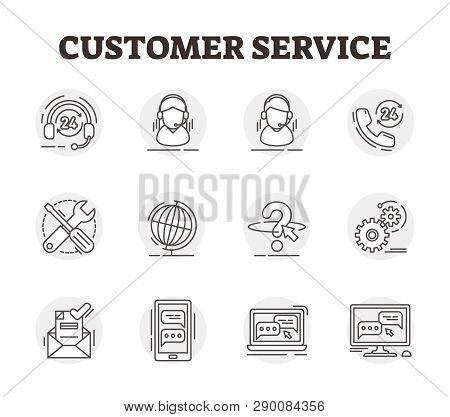 Customer Service Vector Icon Collection Set Illustration. Outlined Helpdesk Concept With Operator As