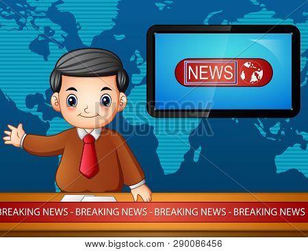 Cartoon Of Newsreader Is Broadcasting On Tv