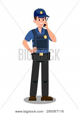 Guardian With Walky Talky Cartoon Character. Bodyguard On Mission. Policeman Wearing Cap And Bulletp