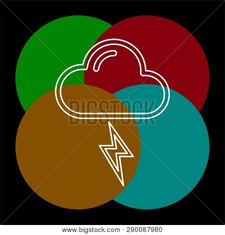 Weather Storm Illustration, Sun Rain Symbol - Weather Storm Icon. Thin Line Pictogram - Outline Edit