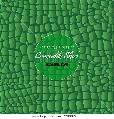 Reptile Alligator Skin Seamless Pattern. Crocodile Skin Texture. Vector Illustration.