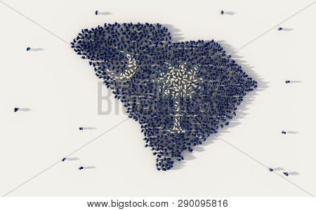 Large Group Of People Forming South Carolina Flag Map In The United States Of America, Usa, In Socia