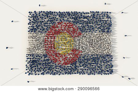 Large Group Of People Forming Colorado Flag Map In The United States Of America, Usa,  In Social Med