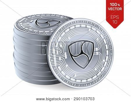 Nem. Crypto Currency. 3d Isometric Physical Coins. Digital Currency. Stack Of Silver Coins With Nem