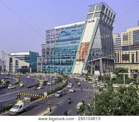 Gurgaon / Gurugram, New Delhi, India - December 12: Architecture Of Cyber City (cyberhub) On Decembe