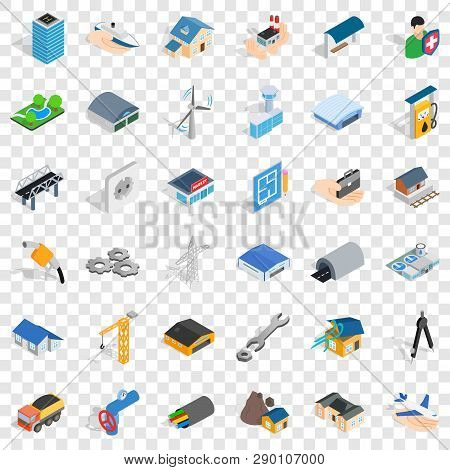 Construction Site Icons Set. Isometric Style Of 36 Construction Site Vector Icons For Web For Any De